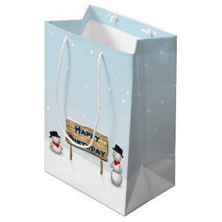Cute Snowmen with Sign - Birthday Medium Gift Bag