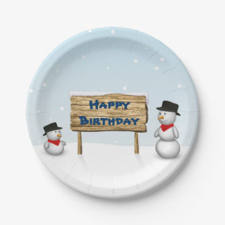 Cute Snowmen with Sign - Birthday Paper Plate 7 Inch Paper Plate