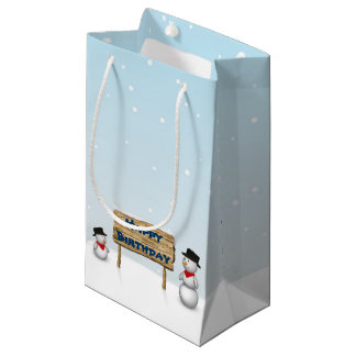 Cute Snowmen with Sign - Birthday Small Gift Bag