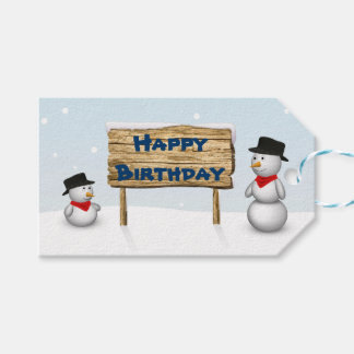 Cute Snowmen with Sign - Happy Birthday Gift Tag