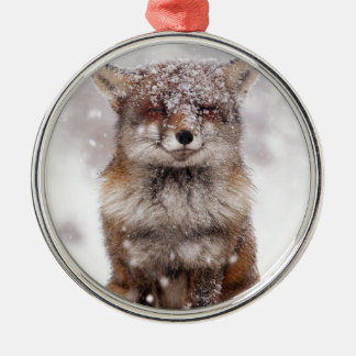 Cute Snowy Fox! Silver-Colored Round Decoration