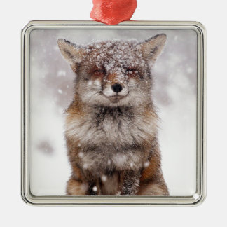 Cute Snowy Fox! Silver-Colored Square Decoration