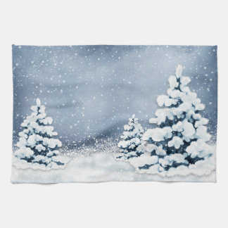 Cute Snowy Pine Trees Kitchen Towel