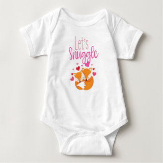 "Cute Snuggling Spring Fox ""Let's Cuddle"" Baby Baby Bodysuit"