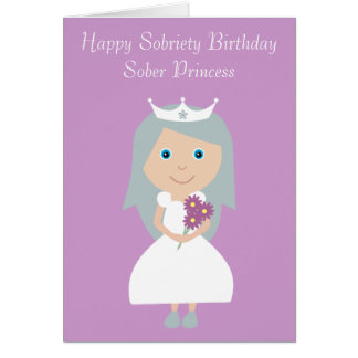 Cute Sober Princess Lilac Sobriety Birthday Card