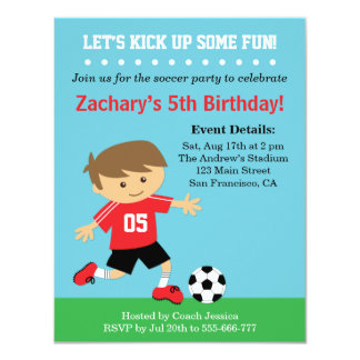 Cute Soccer Boy, Football Themed Birthday Party Personalized Announcements