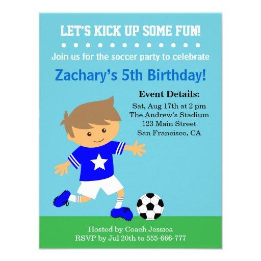 Cute Soccer Boy, Football Themed Birthday Party Custom Invite