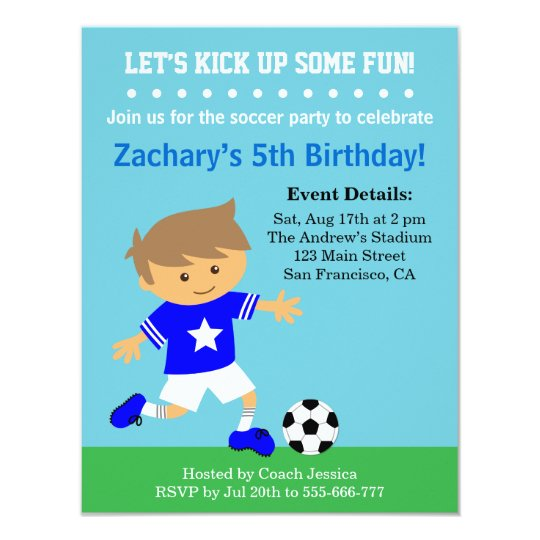 Cute Soccer Boy Football Themed Birthday Party Invitation