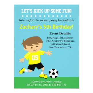 Cute Soccer Boy, Football Themed Birthday Party Custom Invites