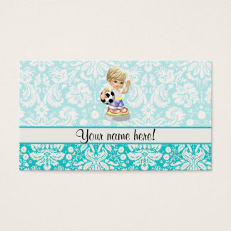 Cute Soccer; Damask Business Card