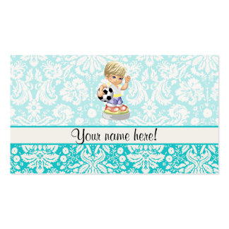 Cute Soccer Damask Business Cards
