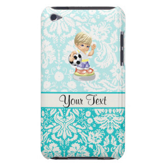 Cute Soccer; Damask Barely There iPod Case