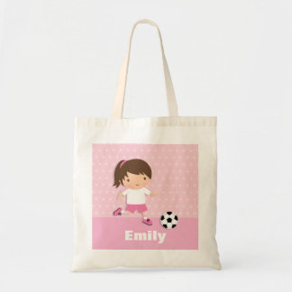 Cute Soccer Footballer Girl Pink Tote Bag