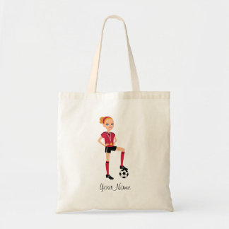 Cute Soccer Girl Character Tote Budget Tote Bag