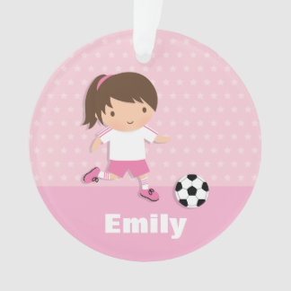 Cute Soccer Girl Pink Personalized Ornament