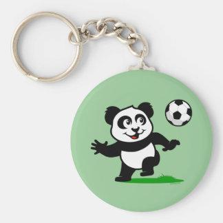 Cute Soccer Panda Key Ring