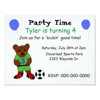 """Cute Soccer Party Invitation 4.25"""" X 5.5"""" Invitation Card"""