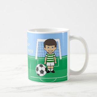 Cute Soccer Player Green White hoops Basic White Mug