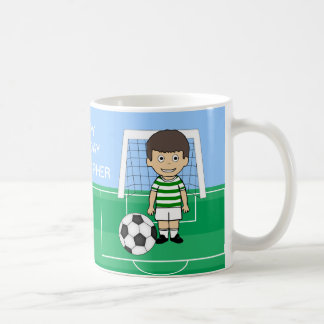Cute Soccer Player Green White hoops Coffee Mug