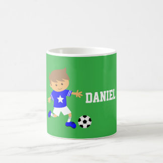 Cute Soccer Star Boy, Football Theme Coffee Mug