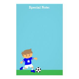 Cute Soccer Star Boy, Football Theme Stationery