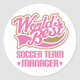 Cute Soccer Team Manager Gift Round Sticker