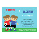 Cute Soccer Twins, Soccer Kids Birthday Party Invitation