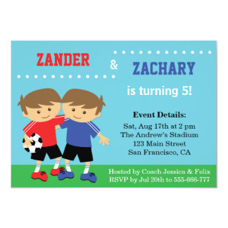 Cute Soccer Twins, Soccer Kids Birthday Party 5x7 Paper Invitation Card