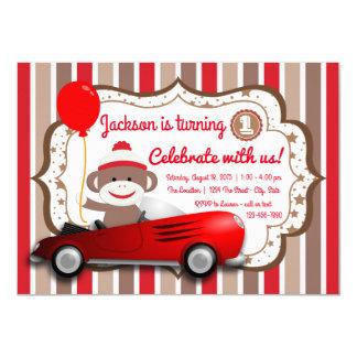 Cute Sock Monkey Birthday Party Invitation