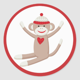 Cute Sock Monkey Envelope Seals or Toppers Round Sticker