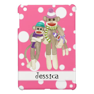 Cute Sock Monkey Girl Friends Whimsical Fun Art Cover For The iPad Mini
