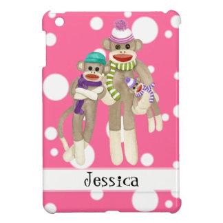 Cute Sock Monkey Girl Friends Whimsical Fun Art Case For The iPad Mini