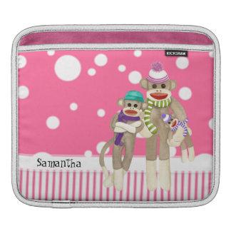Cute Sock Monkey Girl Friends Whimsical Fun Art iPad Sleeve