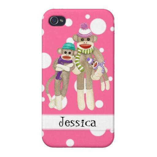 Cute Sock Monkey Girl Friends Whimsical Fun Art iPhone 4/4S Covers