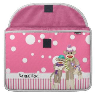 Cute Sock Monkey Girl Friends Whimsical Fun Art MacBook Pro Sleeves