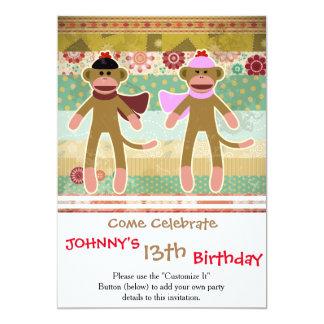 Cute Sock Monkey on Cloth Pattern 13 Cm X 18 Cm Invitation Card