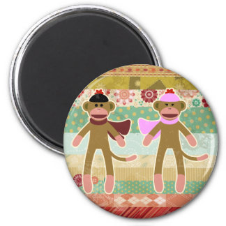 Cute Sock Monkey on Cloth Pattern 6 Cm Round Magnet