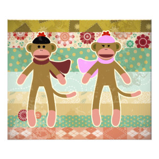 Cute Sock Monkey on Cloth Pattern Photo Art