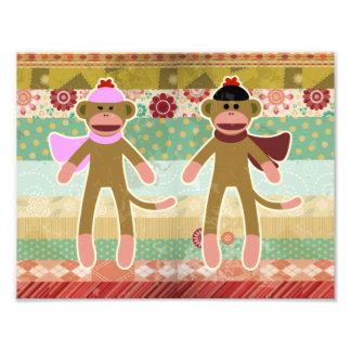 Cute Sock Monkey on Cloth Pattern Photo Print
