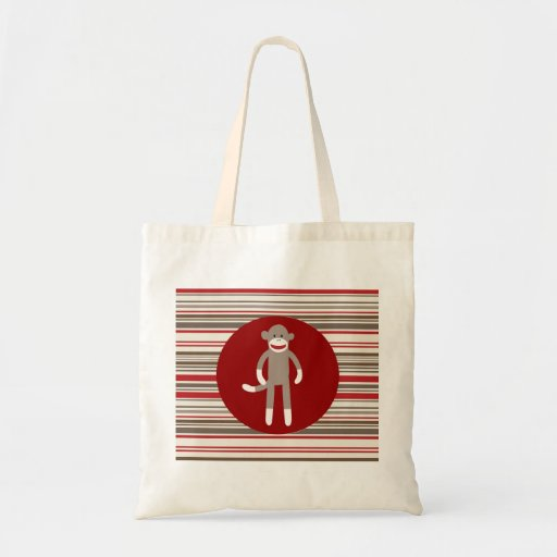 Cute Sock Monkey on Red Circle Red Brown Stripes Canvas Bags