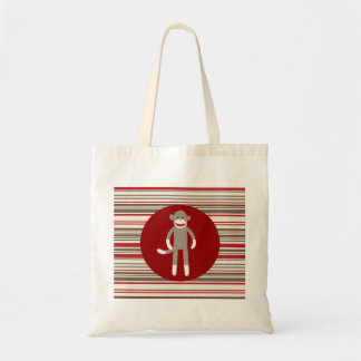 Cute Sock Monkey on Red Circle Red Brown Stripes Budget Tote Bag