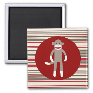 Cute Sock Monkey on Red Circle Red Brown Stripes Square Magnet