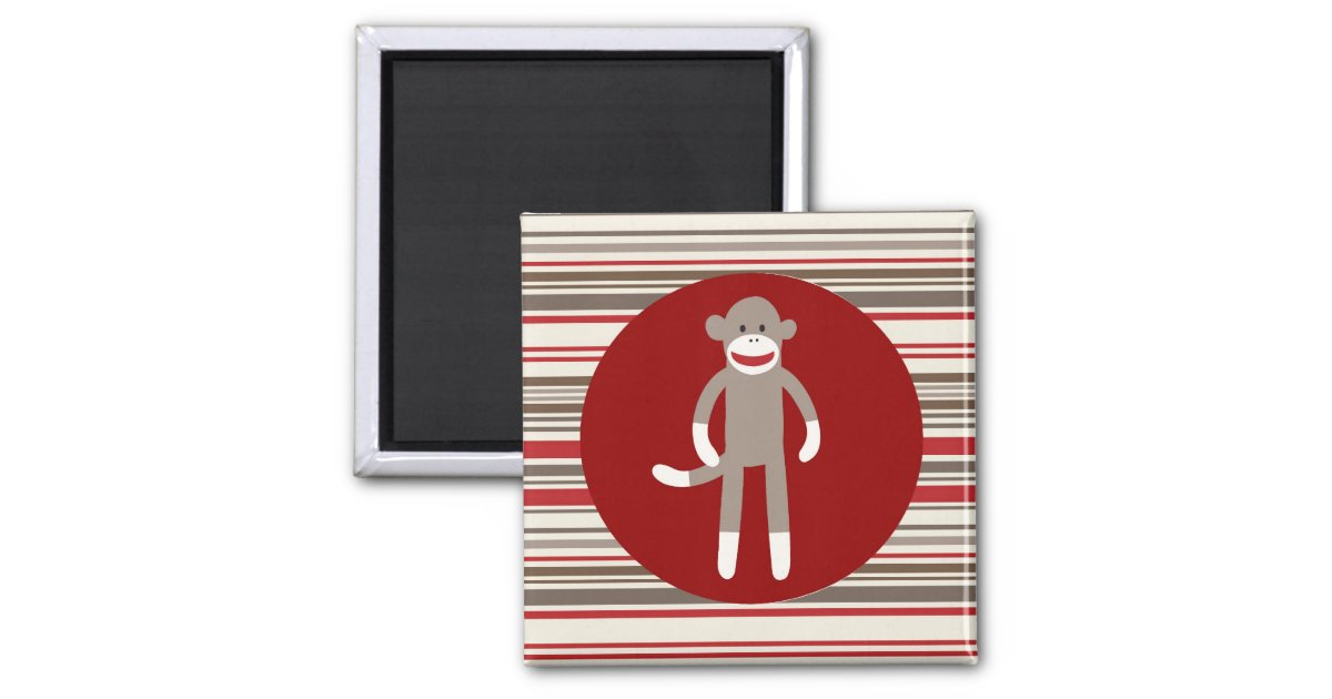 cute sock monkey on red circle red brown stripes square. Black Bedroom Furniture Sets. Home Design Ideas