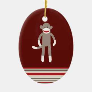 Cute Sock Monkey on Red with Stripes Ceramic Oval Decoration