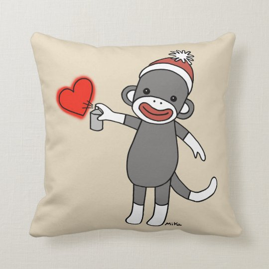 Cute Sock Monkey Pillow Unique House Warming gift