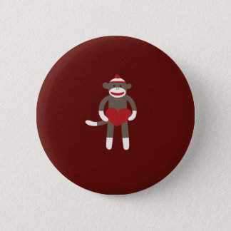 Cute Sock Monkey with Hat Holding Heart 6 Cm Round Badge