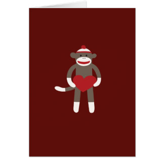 Cute Sock Monkey with Hat Holding Heart Card