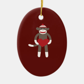 Cute Sock Monkey with Hat Holding Heart Christmas Ornament