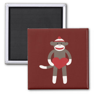 Cute Sock Monkey with Hat Holding Heart Square Magnet