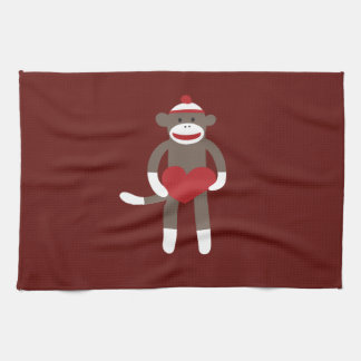 Cute Sock Monkey with Hat Holding Heart Tea Towel